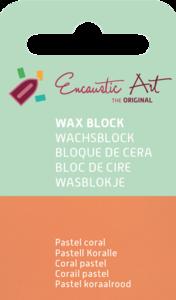 AE Nr.34 wasblokjes 1 st - pastel coral / Blocs de Art Encaustique 1 pcs - pastel corail / Arts Encaustic Blöcke 1 St - pastel coral